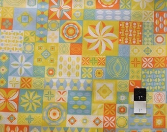 Jenean Morrison PWJM054 Power Pop Clique Aqua Cotton Fabric 1 1/2 Yard