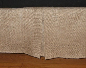 """14"""" To 22"""" Drop - King Size or California King Size BURLAP Bed skirt with kick pleat on each side"""