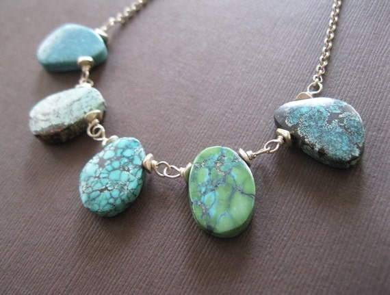 Organic Turquoise Chunky Slabs Sterling Necklace - Sample Sale