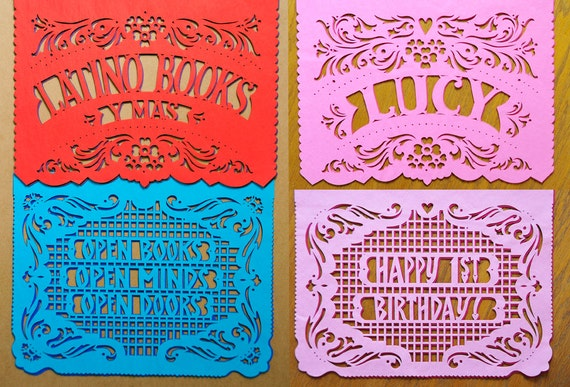 Any Occasion - Personalized Papel Picado - Sets of 2 banners - Custom Color - birthday party, retirement, graduation