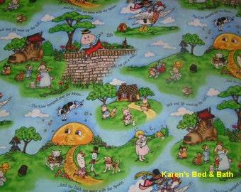 Mother Goose Story Book Rhymes Nursery Boy Girl Blue Children's Curtain Valance