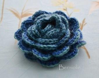 Crochet flower brooch, shawlpin, blue green I883
