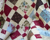 Lap Quilt Nine Patch Double Chocolate Brown Blue Red Tan