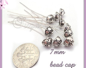 10 Antiqued Silver Head Pins with Bead Cap 2 inches long