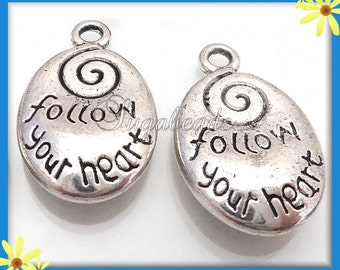 10 Antiqued Silver Spiral Charms, Stamped Charms, Follow Your Heart, 20mm PS94