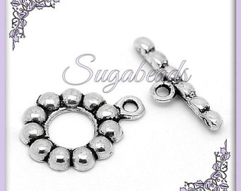 5 Antiqued Silver Daisy Flower Toggle Clasps 19mm