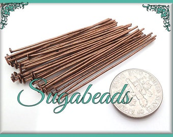 300 Antiqued Copper Head Pins 50mm 21 Gauge, Copper Tone Head Pins