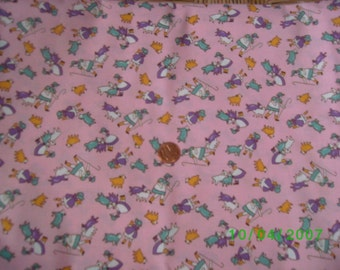 Childrens 1930s Reproducrion Novelty Fabric Little Bo Peep  on Pink