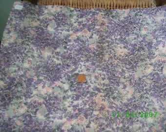 Vintage  Cotton Fabric Overall Print of Rose & Lavender