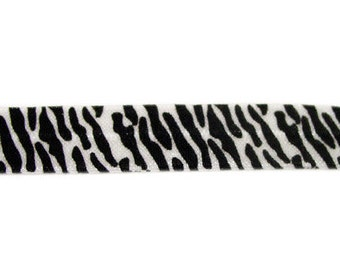 5 YARDS 5/8 inches Print Fold Over Elastics FOE - White Black Zebra