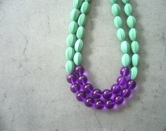 Green statement necklace with purple, chunky style