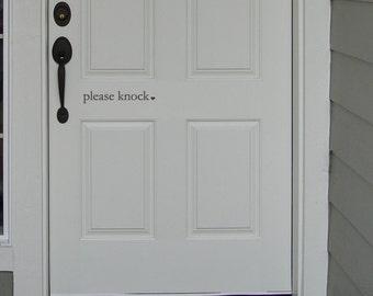 please knock heart Front Door Vinyl Wall Art Graphic Stickers Decals 1514