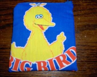 Big Bird Sesame Street fabric handmade zipper coin change purse