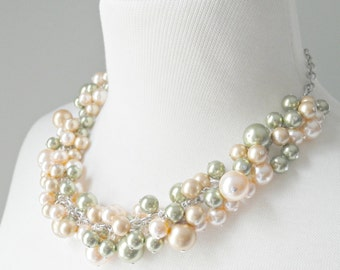 SALE (4 left!): Bubbly Necklace - Green/Peach/Gold