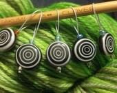 Licorice Swirl -- Stitch Markers -- 5 pc - HuggyBearKnits