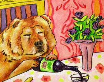 Chow Chow, chow print, print on tile, ceramic coaster, wine, wine art, wine tile, gift for wine lover, modern dog art