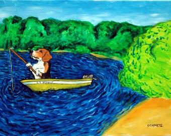 beagle art - beagle art PRINT, beagle, dog, dog art, fishing, modern, folk, gift, REPRODUCTION, beagle art - beagle gifts