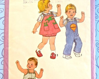 Vintage 1970s Childs Overalls Pattern with Shirt and Bloomers - Simplicity 8950
