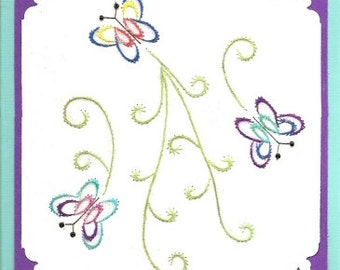 Butterfly Path Embroidery Pattern for Greeting Cards