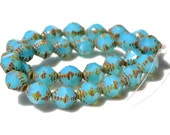 Turquoise Vintage Style Bicone Czech Glass Beads   6