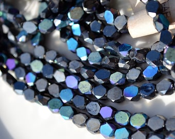 Gorgeous Blue Iris 6mm Faceted Coin Beads  25