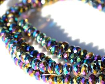 Mardi Gras 4mm Crystal Rondelle Beads   25