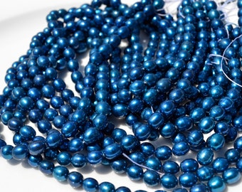 Beautiful BLue Rice Freshwater Pearl Beads  FULL STRAND