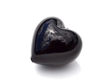 Black Italian Venetian Lampwork Heart Bead   1