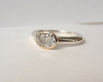 Simple Gold And Silver Solitaire Ring