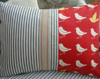 Shabby Chic French Cottage PiLLoW Ticking Red and White Birds 14x18 Insert