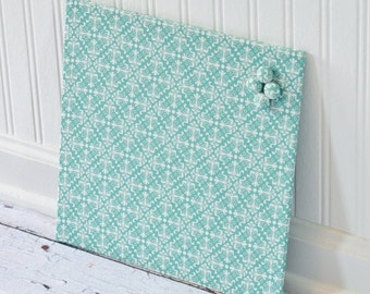 Magnetic Bulletin Board 12inx12in No Frame - Blue Diamond Damask Fabric