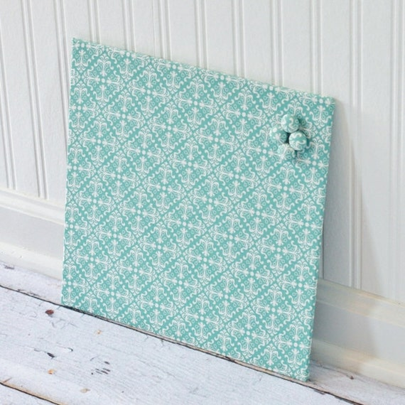 Magnetic Bulletin Board 12inx12in No Frame - Blue Diamond Damask Fabric