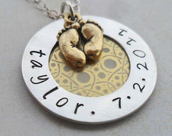 New Baby Personalized Name and Date Necklace -Custom Name with Baby Feet - Sterling Silver- S123