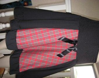 sequoia Black,Red tartan,Check Longer Length  Skirt,Punk,Goth,rock,emo lolita All sizes