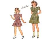 "Unused Vintage 40s Girls Dress Sewing Pattern 1940s Unprinted Sewing Pattern Puff Sleeve Dress War Era size 10 Breast 28"" Simplicity 3546"