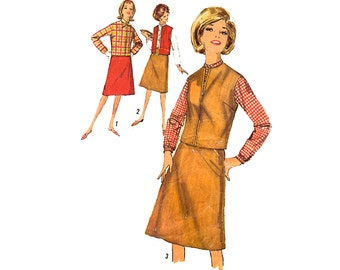 Vintage Sewing Pattern 1960s Sporty Blouse A Line Skirt Jacket Suit Office Separates bust 32 size 12 Small Simplicity 5100