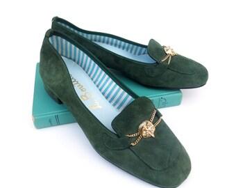 New Vintage 60s Shoes Unworn Pumps Green Suede Loafer Flats Fox Horsebit Shoes Deadstock size 6 1/2 NOS