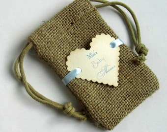 Burlap baby shower favor bags - Personalized - Moms name - Heart shape
