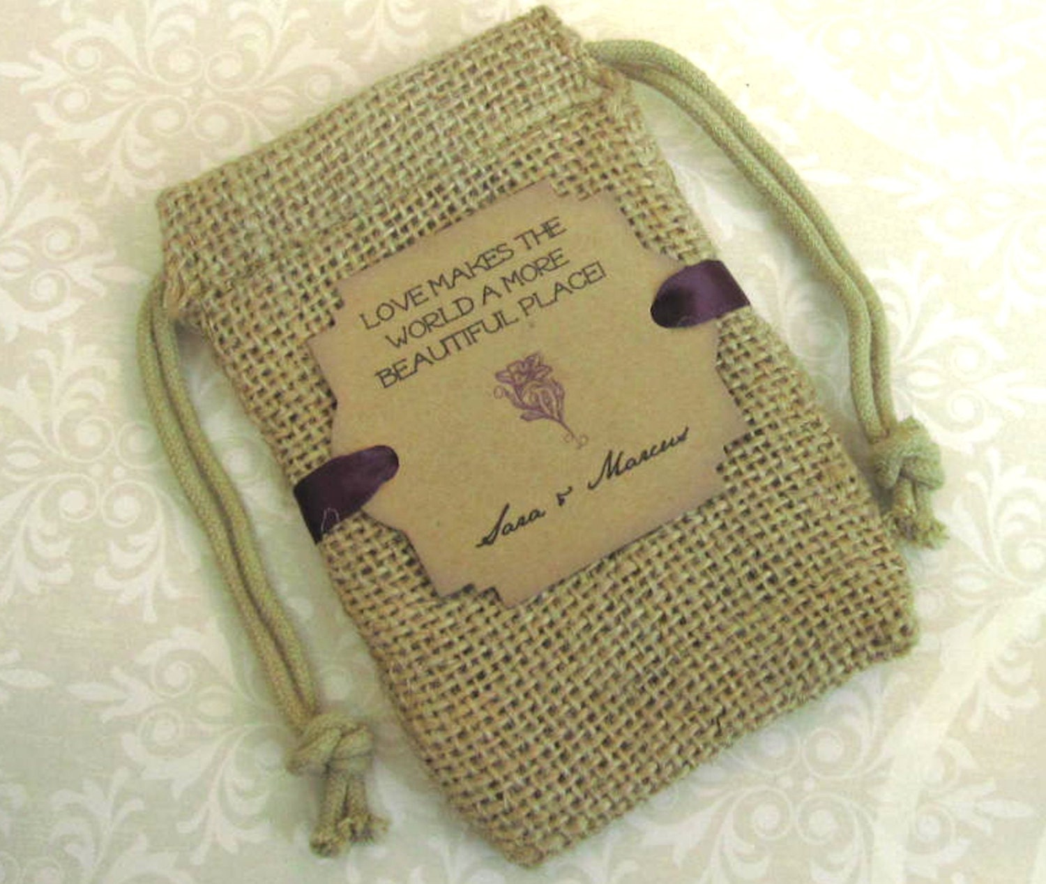 Burlap wedding favor bags Personalized Love makes the