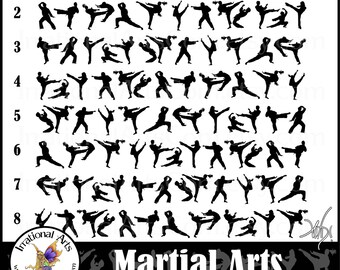 Martial Arts BORDERS INSTANT DOWNLOAD with 8 png digital files or clip art