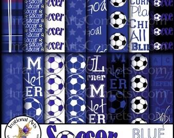 Soccer INSTANT DOWNLOAD digital paper 16 jpg files BLUE soccer
