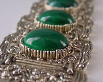 vintage huge panel bracelet cuff . massive wide link heavy metal retro Asian empire revival faux jade
