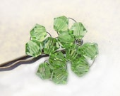 Shamrock Crystal Hair Pin - St Patricks Day - Green Hand Beaded Four Leaf Clover Swarovski Crystal Bobby Pin