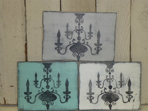 SHABBY Paris CHIC CHANDELIER wall plaque /   wood wall chandelier plaque / shabby chandelier