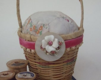 Vintage Quilt Pin Cushion Upcycled with MOP button Wicker Basket