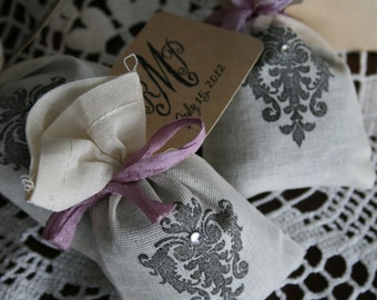 WEDDING FAVOR -  jasmine tea bags or lavender sachets with monogram tag - wedding, bridal shower, party - vintage, french, traditional style
