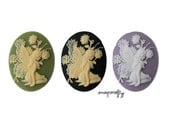 4pc 40x30mm fairy resin cameo, choose your colors: ivory and green, ivory and black, lavender and white