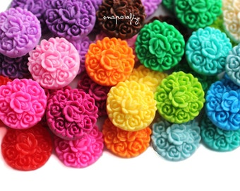 36pc SAMPLER cab set / 18 pairs floral resin cabochons pastel + bright colors / 17mm round floral cameos / flat back flower embellishments