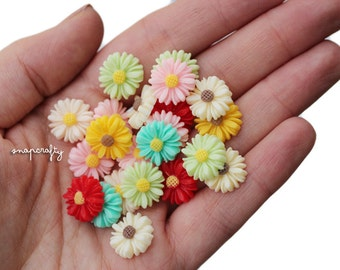 20pc gerber daisy flower cabochons / small resin daisy cabs / diy stud flower earrings / daisy flower cabs / grab bag flower mix