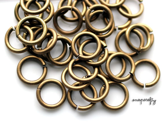 12pc antique brass large jump rings 10mm / 14ga open jump rings / high quality lead-free, nickel-free hypoallergenic jumpring findings